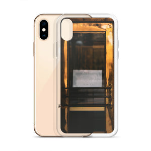 An iPhone case picturing a gold door with a white paper sign, no words visible.  Bold statement and creative iPhone cases