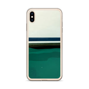 This iPhone case pictures water bumping up against the hull of a sailboat in Tobermory, Ontario.  A thick blue stripe can be seen painted on the hull of the boat, close to the waterline.  Tobermory iPhone cases
