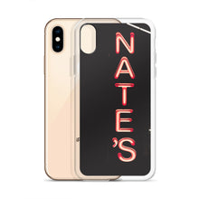 Load image into Gallery viewer, Red neon NATE'S sign, with letters stacked vertically against a dark background.  This case design comes from a photograph taken at night on Sparks Street in Ottawa, Canada.  Ottawa, Canada iPhone Cases.