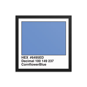 14x14 CornflowerBlue HEX print #6495ED.  Artwork and decor for designers and developers.  Great for any workplace or home office.