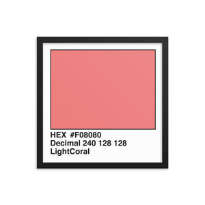 16x16 LightCoral HEX print #F08080.  Artwork and decor for designers and developers.  Great for any workplace or home office.