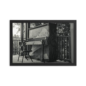 Dirty outdoor upright piano with folding chair under pergola.  Framed black and white piano art prints 12x18 - ZNA Creative