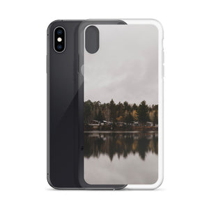 an iPhone case picturing an incredibly still, glass lake in rural Ontario, Canada.  This fall themed phone case is perfect for any outdoor or Canadian enthusiast.  Camping and Fishing iPhone cases.  iPhone X cases