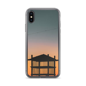 iPhone case with beach tower during sunset