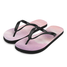 Load image into Gallery viewer, Pink clouds at sunset line the bottom of these popular flip flops.  So comfortable you'll feel like you're walking on clouds!