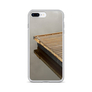 An iPhone case picturing a wooden dock on an incredibly still lake.  The glass lake surface is reflecting the clouds and sky.  Nature and cottage iPhone cases.  Camping & Hunting iPhone cases.  iPhone X smartphone cases