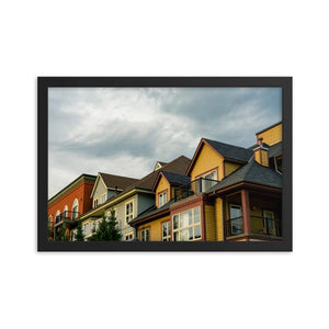 Eclectic contemporary cottage style garden homes with an overcast background.  Framed fine art prints 12x18 - ZNA Creative