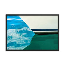 Load image into Gallery viewer, The bow hull of a sailboat reflecting in bright blue Tobermory water.  Framed lake art prints 12x18 - ZNA Creative