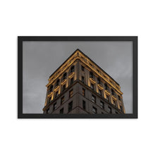 Load image into Gallery viewer, Warmly lit historical building in Montreal against dark gloomy night sky.  Framed fine art prints 12x18 - ZNA Creative