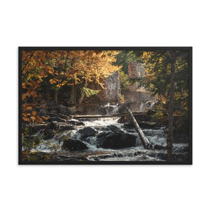 A small historic waterfall creates a golden mist as the water pours over rocks and through the fall leaves colours.  Framed art prints - ZNA Creative