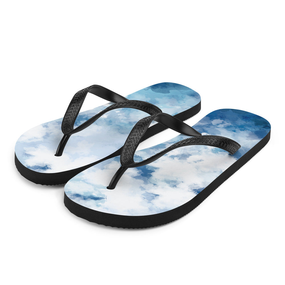 Creative and bright watercolour flip flops.  The light, and airy blue watercolour appearance keeps these flip flops looking fresh on and off your feet.