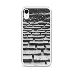 A black and white iPhone case with a graphic of wood shingles, cascading up a roof.