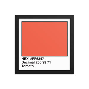 12x12 Tomato HEX print #FF6347.  Artwork and decor for designers and developers.  Great for any workplace or home office.