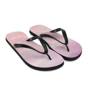 Pink clouds at sunset line the bottom of these popular flip flops.  So comfortable you'll feel like you're walking on clouds!