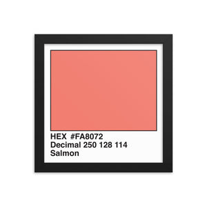 10x10 Salmon HEX print #FA8072.  Artwork and decor for designers and developers.  Great for any workplace or home office.
