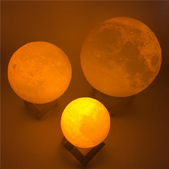 Rechargeable 3D Print Moon Table Lamp