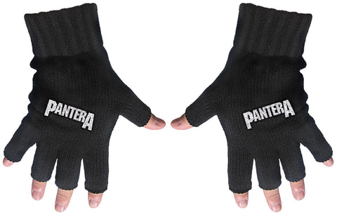 Pantera | Fingerless Gloves White Logo