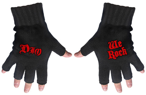 Dio | Fingerless Gloves Red Logo & We Rock