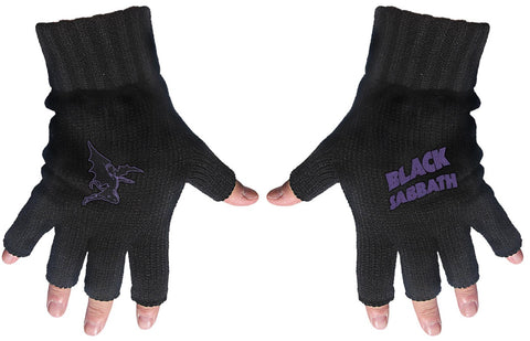 Black Sabbath | Fingerless Gloves Purple Logo & Devil