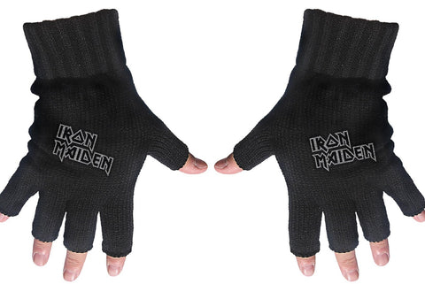 Iron Maiden | Fingerless Gloves White Logo