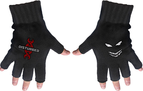 Disturbed | Fingerless Gloves White Logo Reddna