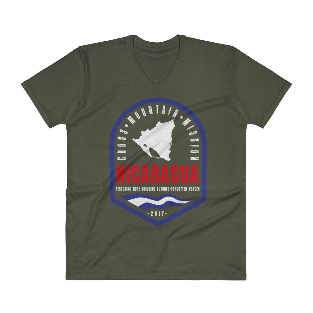 Cross Mountain Mission Nica Flag V-Neck T-Shirt