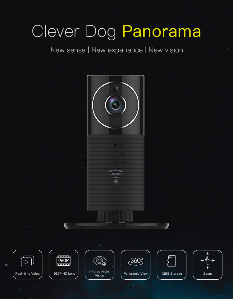 960P IP Camera Panoramic Full HD Clever Dog