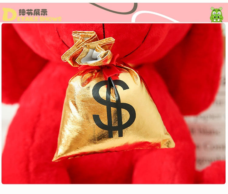Good fortune red dog with $ bag