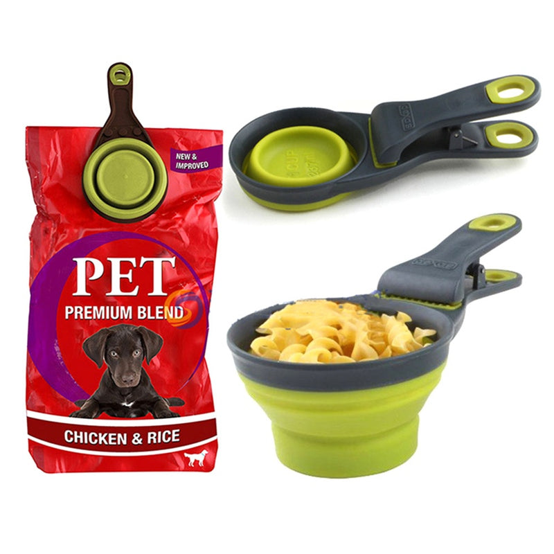 Collapsible Dog Food Bowl with Food Bag Sealing Clip