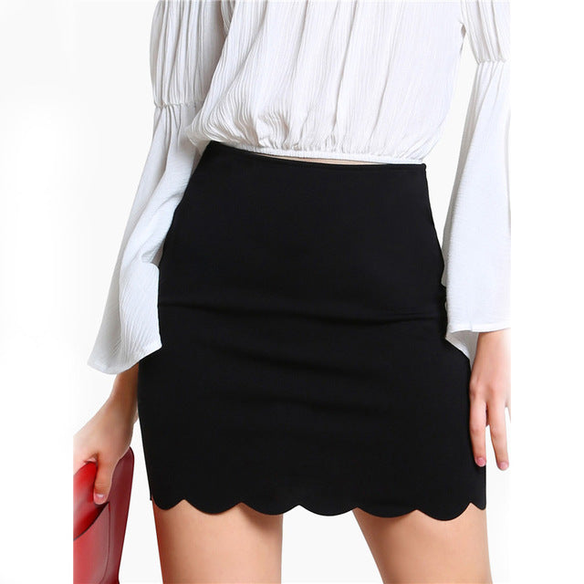 Scallop Hem Mini Skirt