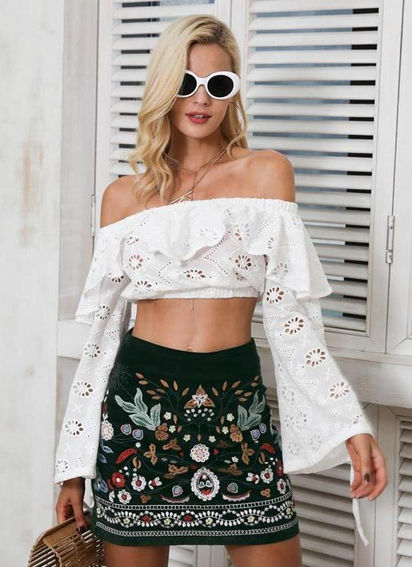 Embroidered Corduroy Mini Skirt
