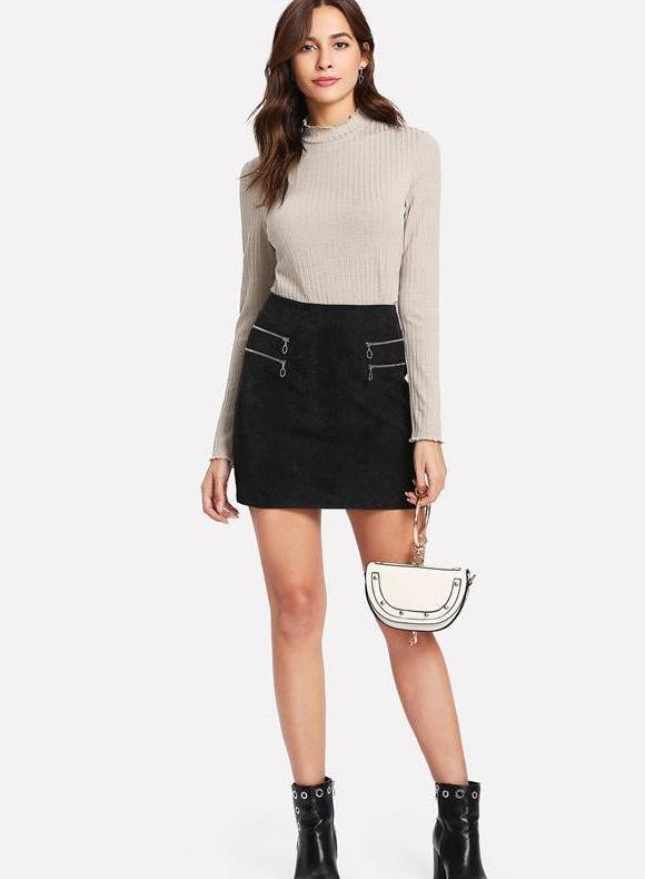 Zipper Detail Corduroy Mini Skirt