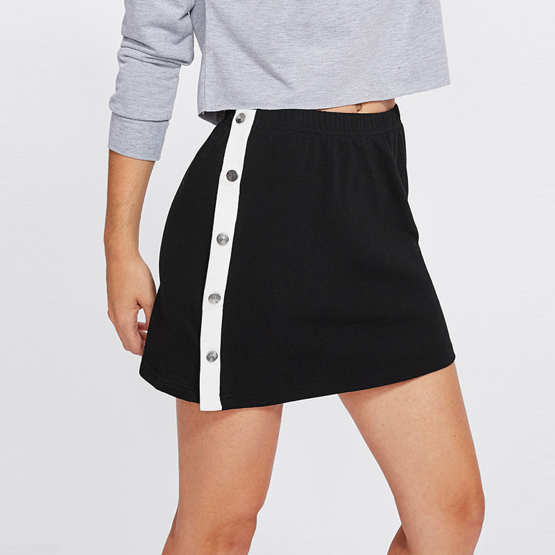 Snap Button Mini Skirt