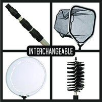 4-in-1 Pond Kit Catching Net Skimming Net Telescopic Pole Cleaning Brush S545