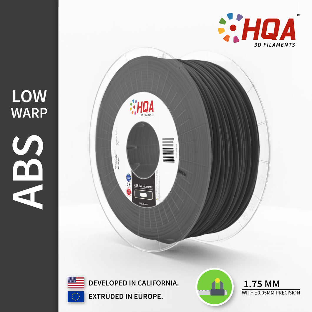HQA ABS (Low Warp) 3D Printer Filament, Dark Grey, 1.75MM, 1KG Spool