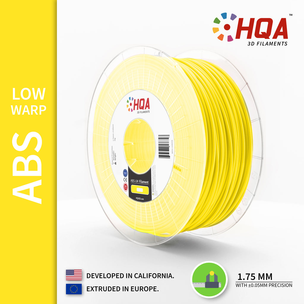HQA ABS (Low Warp) 3D Printer Filament, Yellow, 1.75MM, 1KG Spool