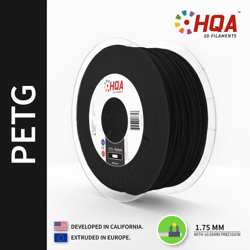 HQA PETG 3D Printer Filament, Black, 1.75MM, 1KG Spool