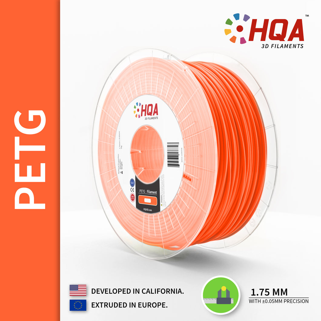 HQA PETG 3D Printer Filament, Orange, 1.75MM, 1KG Spool