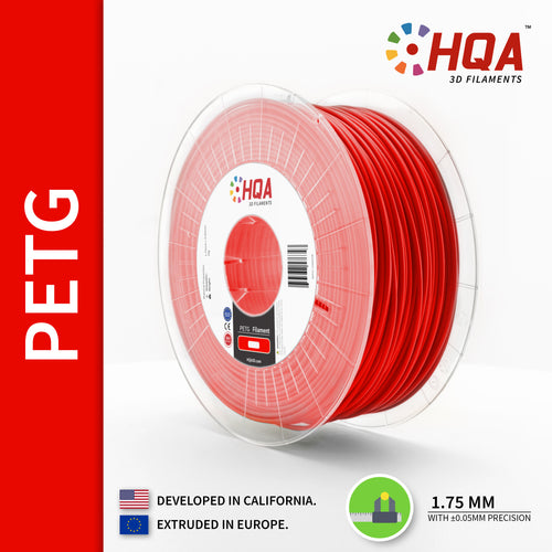 HQA PETG 3D Printer Filament, Red, 1.75MM, 1KG Spool