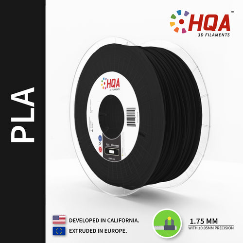 HQA PLA+ 3D Printer Filament, Black, 1.75MM, 1KG Spool, [NatureWorks 4043D]