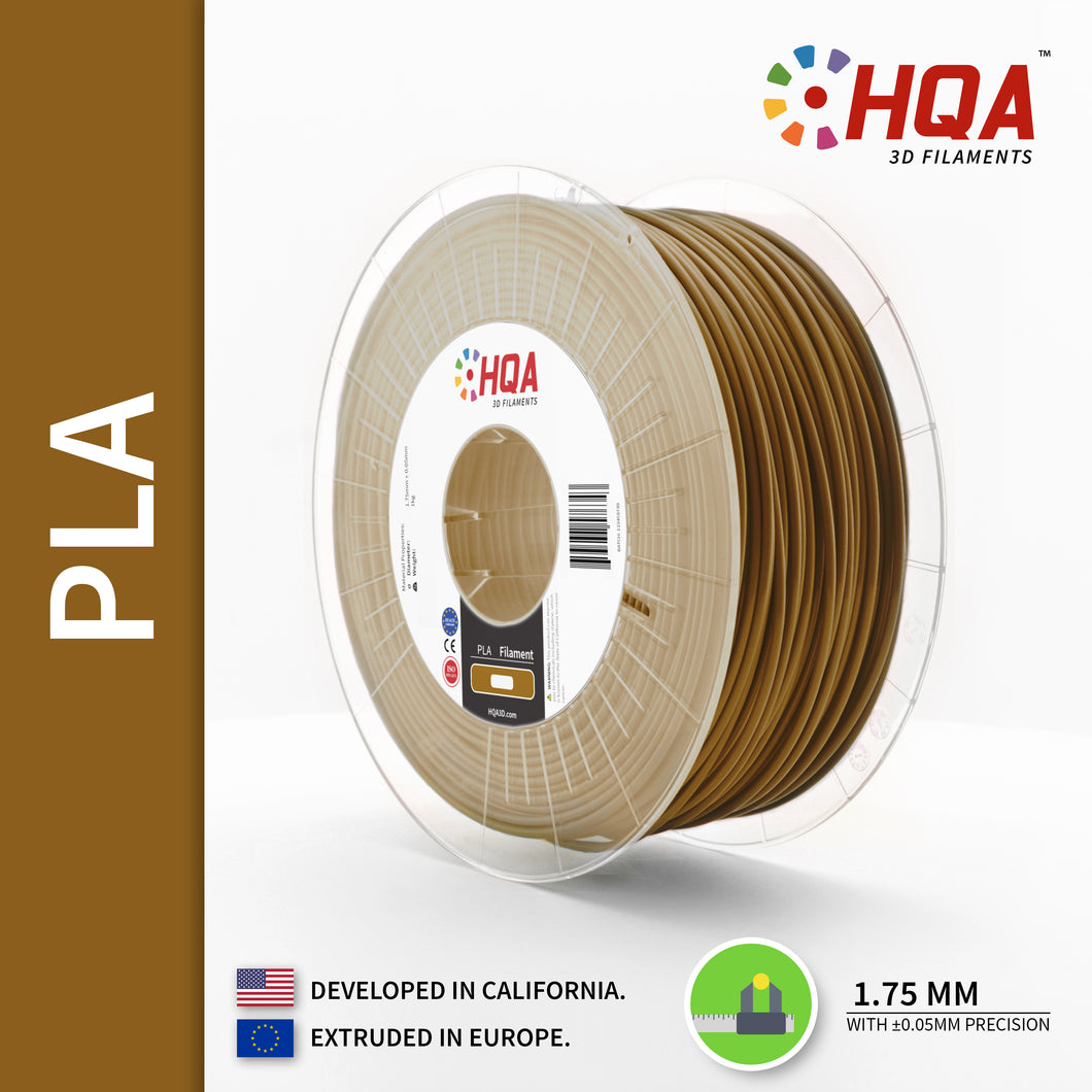 HQA PLA+ 3D Printer Filament, Bronze, 1.75MM, 1KG Spool, [NatureWorks 4043D]