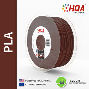 HQA PLA+ 3D Printer Filament, Brown, 1.75MM, 1KG Spool, [NatureWorks 4043D]