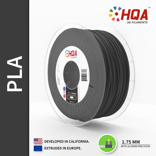 HQA PLA+ 3D Printer Filament, Dark Grey, 1.75MM, 1KG Spool, [NatureWorks 4043D]