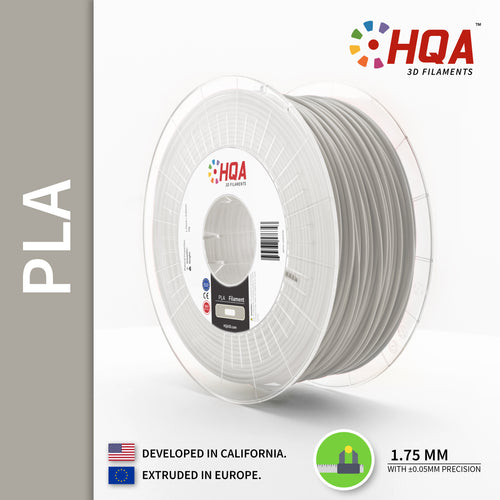 HQA PLA+ 3D Printer Filament, Light Grey, 1.75MM, 1KG Spool, [NatureWorks 4043D]