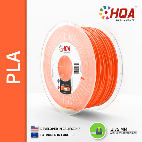 HQA PLA+ 3D Printer Filament, Orange, 1.75MM, 1KG Spool, [NatureWorks 4043D]