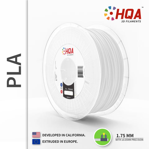 HQA PLA+ 3D Printer Filament, White, 1.75MM, 1KG Spool, [NatureWorks 4043D]