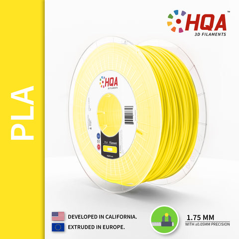 HQA PLA+ 3D Printer Filament, Yellow, 1.75MM, 1KG Spool, [NatureWorks 4043D]
