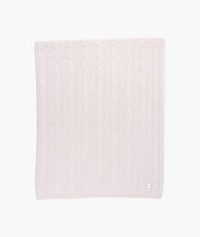 PINK CABLE KNIT CASHMERE BLANKET