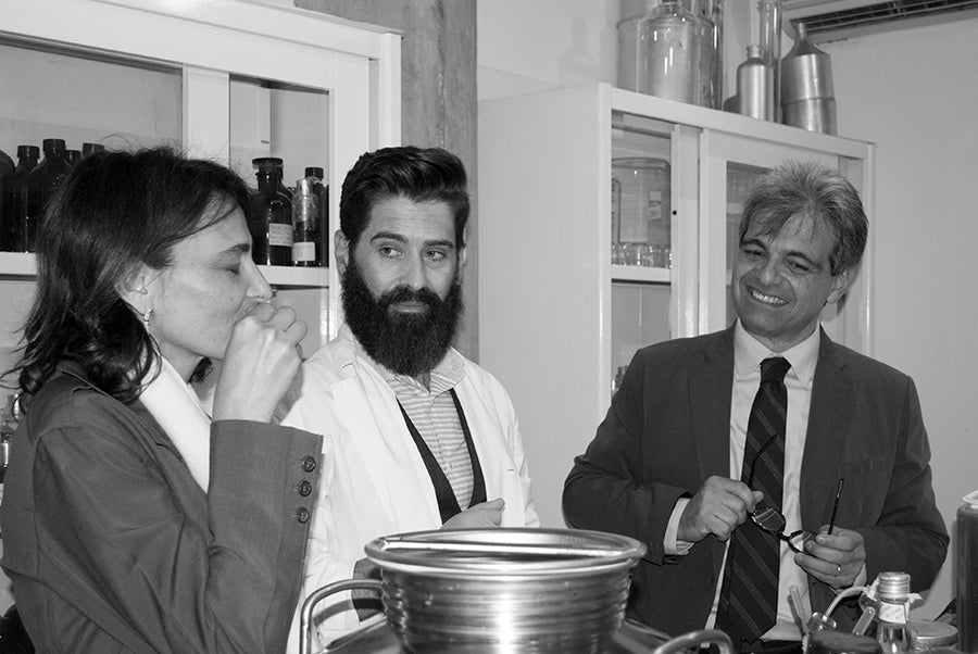 Sonia Acampora, Miguel Matos and Brunello Acampora at Acampora Profumi Olfactory Lab