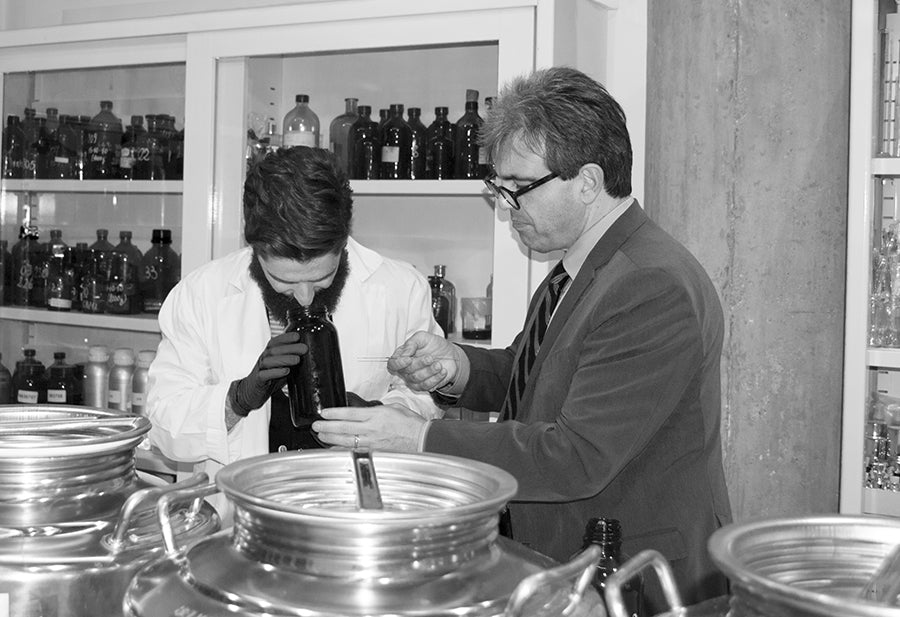 Miguel Matos and Brunello Acampora at Acampora Profumi Olfactory Lab
